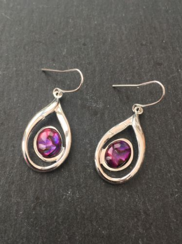 Paua Red Earrings - Large Waterdrop Swirl  PE17-LW